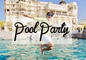pool party wedding velvet
